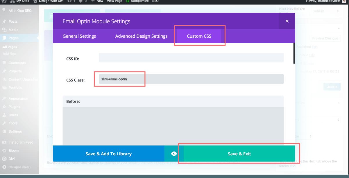 how to create a slim email optin form in divi | brandedbritt